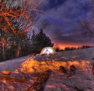 Afton Winter Camp Dusk
